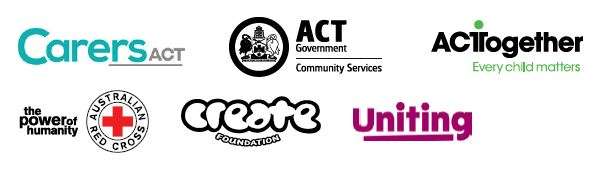Logos - Carers ACT, ACT Government Community Services, ACTTogether Every Child Matters, the power of humanity, Australian Red Cross, Create Foundation, Uniting