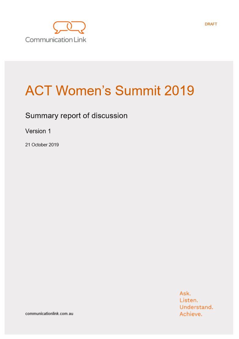ACT Women's Summit Report