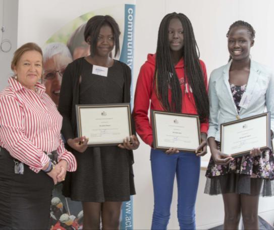 Photo of Minister Women with Achok Akoi, Nyankiir Abuoi and Abuk Mayen